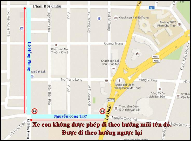 tuyến đường cấm xe ô tô ở Buôn Ma Thuột – Đăk Lăk